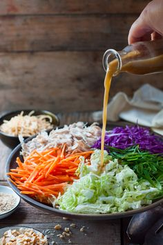 Chinese Chicken Salad - with crunchy noodles and an simple but amazing dressing by David Chang (Momofuku) salad recipe David Chang, Asian Recipes, Healthy Recipes, Ethnic Recipes, Chinese Recipes, Juice Recipes, Diabetic Recipes, Chinese Chicken Salad Dressing, Asian Dressing