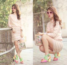 Romwe Pink Sunnies, Romwe Bow Shirt, Lulu's Sequined Skirt, Minna Parikka Carna Tropical Flower Shoes