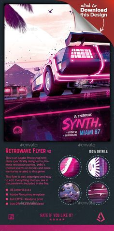 1980s, 80s, cyberpunk, delorean, electro, event, flashback, flyer, futurewave, gaming, movies, music, neon, outrun, poster, retro, retrogaming, retrowave, sci-fi, synthwave flyer, vaporwave, vintage This is a synthwave flyer Adobe Photoshop template specifically designed for retrowave and synthwave parties, vaporwave events, to promote music, videos, movies or documentaries related to the synthwave, futurewave, outrun, cyberpunk and generally retro vintage events that recreate the vibe of…