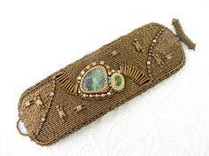Beaded Cuff Bracelet, Seraphinite Bracelet Cuff, Bronze Bead Embroidery, Seed Bead Bracelet, Seraphinite Jewelry, Embroidered Cuff