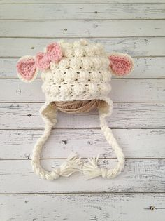 Crochet Baby Girl Lamb Hat Animal Photo Prop by NewYarnCreations