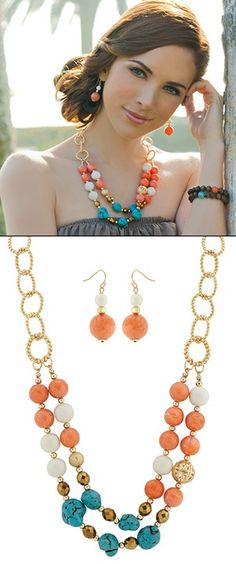 Stylist pick for introducing color to your wardrobe! Guy  Evas Gracie necklace and earring set, $78.