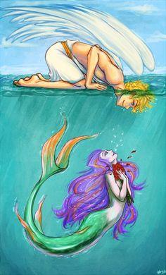 Skysir and the Mermaid ~ Whymplerian x Bluicean love story Mermaid Artwork, Mermaid Drawings, Mermaid Tattoos, Art Drawings, Mermaid Paintings, Mermaid In Love, Mermaid Fairy, Mermaid Love Story, Fantasy Mermaids