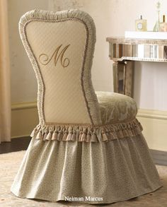 ~ Every Southern Belle needs this vanity chair!I dearly love it - the style, ruffles monogram.I believe it is quite the most beautiful little vanity chair I've ever laid eyes on. Chair Covers, Table Covers, Vanity Stool, Vanity Chairs, Vanity Seat, Vanity Tables, Desk Chairs, Side Chairs, Dining Chairs