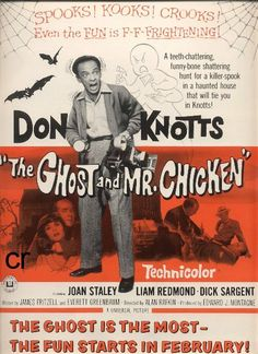 The Ghost and Mr. Chicken (1966) - As a young child, this fine flick was pretty scary. As an adult, it's now a nostalgic trip to a simpler time, the way Disney used to be. It stars Don Knotts, the man who was a national treasure. It has plenty of humor, a happy ending,  of course, and the guy gets the girl. What else could you ask for?