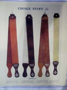 """1917 KOKEN Vintage Barber LEATHER ROYAL RAZOR STROPS """"BROKE IN"""" Color Sign Ad"""