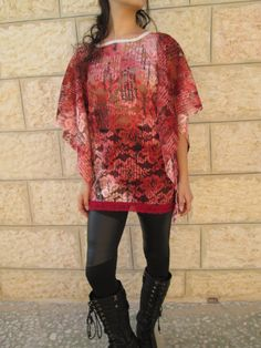 Burgundy red pink long sleeve romantic lace tunic by Youshky, $55.00