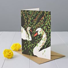 Swans And Willows Greeting Card by Yellow Rose Design, the perfect gift for Explore more unique gifts in our curated marketplace. Brown Envelopes, Kraft Envelopes, Beautiful Swan, Weeping Willow, Rose Design, Yellow Roses, Special Day, Hand Carved, Unique Gifts