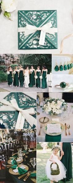 Emerald green Laser Cut Wedding Invitation for Chic Greenery Wedding Deco