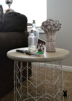 Here it is, a DIY table that you can make for under $30. I did have supplies on hand but it was easy things like stain, white latex paint and the silver spr