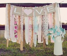 Shabby Chic Scrap Fabric Garland - great for a child's room or as party decor!