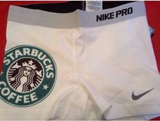 "Every ""white girls"" athletes dream!- white nike pros w. Starbucks logo"