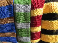 Custom Made All Four Hogwarts House Color Scarves by JessiesPieces, $80.00