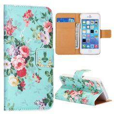 Elegante bloemetjes blauw bookcase voor iPhone 5 / 5S