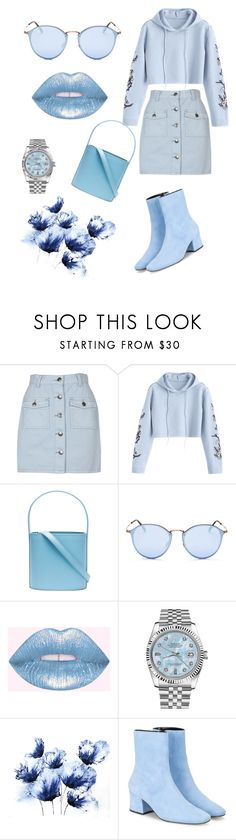 """""""Blue girl"""" by anthony-marcos ❤ liked on Polyvore featuring MINKPINK, Staud, Ray-Ban, Rolex and Dorateymur"""
