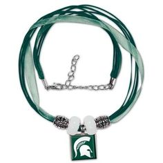 Michigan State Spartans Ladies Ribbon Bead Necklace - Green