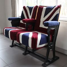 Vintage Cinema Seats In Union Jack Knit A set of vintage cinema seats on their original wrought iron frame with bespoke knitted Union Jack covers. Cinema Chairs, Cinema Seats, Theater Seats, Cinema Room, Cinema Cinema, Union Jack Decor, Upcycled Furniture Before And After, Home Interior, Interior Design