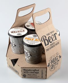 This is the packaging design and re branding for the Mug Pub. Mug is a big chain of football pubs based in Moscow. This pub brews its own beer. It is a new concept for take away beer. Beer is filled into paper cups and a special sticker is put on the top for each to identify the different beers.