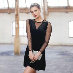 jurk-dot-velvet-mesh-pf1 Fashion Inspiration, Dots, Mesh, Velvet, Outfits, Shopping, Black, Dresses, Fashion Trends