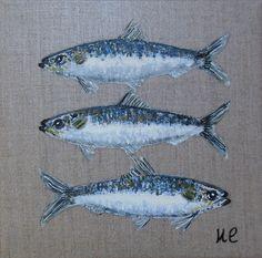 """""""Trois sardines"""" sur lin                                                              Dim : 20 x 20 CM                                  ETSY PAGE FACEBOOK"""