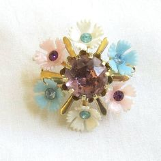 Vintage Rhinestones with Plastic Flowers Pin by BillsVintageVault, $12.00
