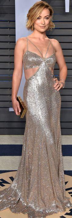 Olivia Wilde Roberto Cavalli Couture Look In Vanity Fair Oscar Party '18.