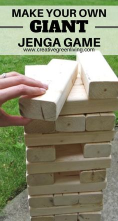 It's easy to make your own DIY giant Jenga yard game with This is a popular drinking game to play at outdoor parties and BBQs. It's a fun and easy game for kids, to play, too! This would be fun to use as a guest book at an outdoor wedding so you hav Outdoor Jenga, Yard Jenga, Jenga Diy, Giant Jenga, Backyard Games, Outdoor Parties, Backyard Ideas, Giant Garden Games, Games