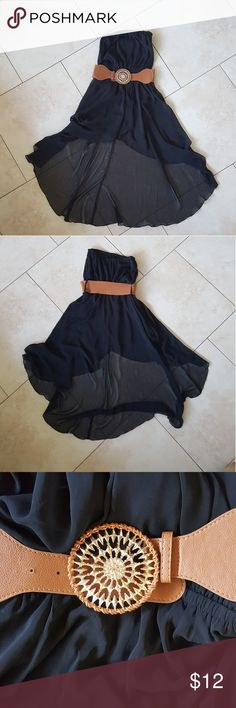 Black High-low Dress with Detachable Belt Strapless, sheer, high-low dress with detachable belt  Size Small Only worn a few times Really cute! Belt has a small sign of wear, as seen in the last picture Annabelle Dresses High Low
