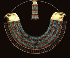 Falcon collar of princess Neferuptah, 12th dynasty, reign of Amenemhat III, 1786 BC, gold, carnelian, feldspar.  Photo:  The Egyptian Museum, Cairo
