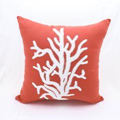 Gorgeous pillow cover -inexpensive way to redecorate room - ready for summer # myestsyshop https://etsy.me/2IkMYZ5 #housewares #pillow #nauticalcoral #coralpillow #orangepillow #nauticalpillow #nauticaldecor  #summerdecor #cottagedecor #freeshipping #kainkain