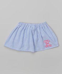 Look what I found on #zulily! Blue Stripe Seersucker Initial Skirt - Infant & Toddler by Caught Ya Lookin' #zulilyfinds