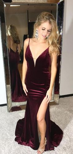 burgundy long prom dress, 2018 long prom dress, sexy straps burgundy mermaid long prom dress with slit