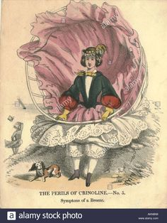 """1862? """"The Perils of Crinoline,--No. 5, Symptoms of a Breeze."""" (Some images from this site are clearly misdated, so grain of salt required. Looks '50s.)"""
