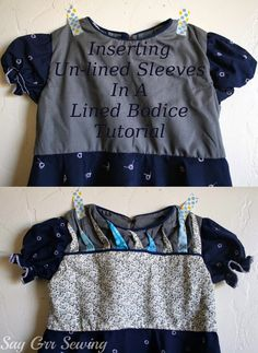 Say Grr Sewing: Inserting Un-Lined Sleeves In A Lined Bodice Tutorial, 11-Apr 2014