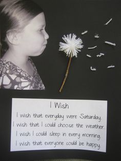 """My school bulletin board for the month.  We wrote ""I Wish"" poems then took pictures like we were blowing a dandelion.  We cut them out and pasted them next to a dandelion that we made out of yarn and sticks.  The kids loved it."""