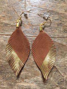 Leather feather earrings boho earrings bohemian by tulip3jewelry