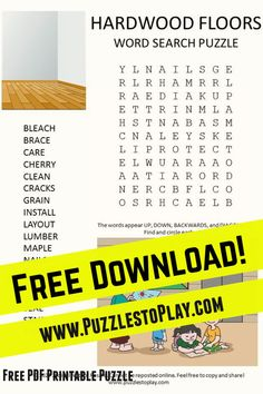 The hardwood floors word search is a printable puzzle offering a look at the very thing you are standing on: The wood on the floor!