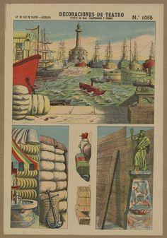 Decoraciones de Teatro. Puerto de mar (Bastidores y fondo)