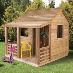 Cedar Shed Cabin Cedar Playhouse, add door, windows, paint, flower boxes, and a little bench/stools and it's perfect.