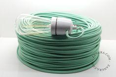 Wit groen textielsnoer, strijkijzersnoer, textielkabel, snoer met patroon, stofkabel, textieldraad, gekleurd elektriciteitsnoer, strijkijzerkabel, | Zangra.com