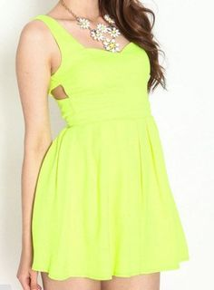 Yellow Neon Heart Thief Pleated Dress