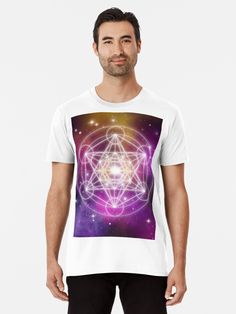 'Metatron's Cube' T-Shirt by KanoelaniArt An updated version of the Metatron's Cube on a galaxy background. Galaxy Background, Galaxy Art, Tshirt Colors, Female Models, Cube, Classic T Shirts, Shirt Designs, Artists, Unique