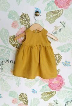 Darling Handmade Mustard Linen Dress | CanvasHouseDesigns on Etsy
