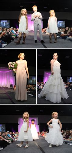 Wedding gowns, flower girl dresses, and bridesmaid dresses by @davidsbridal and tuxedo options by @menswearhouse during the first fashion show! Click for more wedding inspiration at the Summer 2016 Knoxville Pink Bridal Show® | The Pink Bride® www.thepinkbride.com