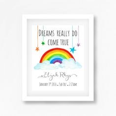 Rainbow Nursery Art Print, Rainbow Baby Gift, Gender Neutral Nursery Decor, Personalised Nursery Art, Christening Gift, Birth Print for Baby by PerfectLittlePrints