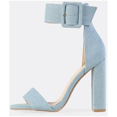 Chunky Denim Ankle Strap Heels ($39) ❤ liked on Polyvore featuring shoes, pumps, blue, chunky-heel pumps, blue shoes, chunky shoes, blue high heel pumps and high heeled footwear