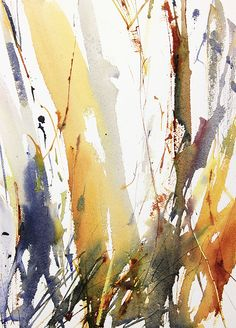 Winter Woodland number 3 expressive semi abstract watercolour landscape by Adrian Homersham