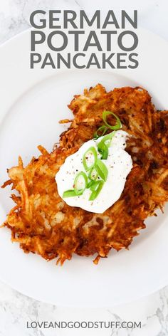 Authentic German potato pancakes may take a little bit of work grating but they are so easy to make! With a nice crispy exterior and a soft potato interior these pancakes make a great potato side dish or snack. Serve with sour cream and onion or applesauc Potato Sides, Potato Side Dishes, Best Side Dishes, Side Dish Recipes, Main Dishes, Seafood Recipes, Appetizer Recipes, Vegetarian Recipes, Pescatarian Recipes