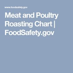 Meat and Poultry Roasting Chart | FoodSafety.gov