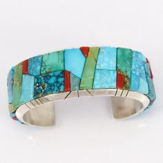 """Sterling Silver Cuff Bracelet with Cobbled Inlaid Mediterranean Coral and Natural Turquoise from the Blue Gem, Fox, Kingman, and Sleeping Beauty Mines. 1"""" Cuff"""